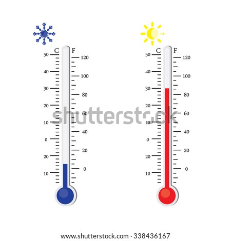 Thermometer icon. raster. Celsius and Fahrenheit. measuring hot and cold temperature. Sun and snowflake winter and summer symbols - stock photo