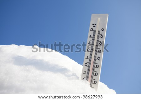 thermometer in snow - stock photo