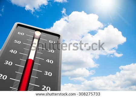 Thermometer indicates high temperature on the blue sky, three-dimensional rendering - stock photo