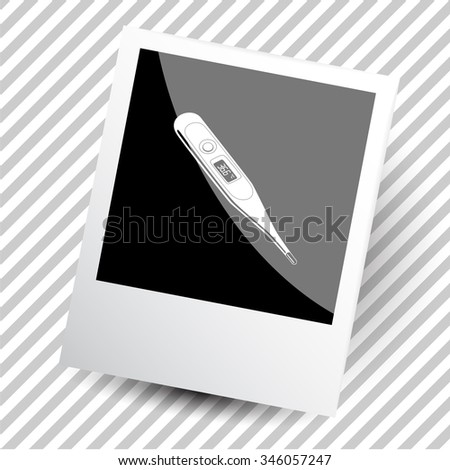 thermometer. Photoframe. Raster icon. - stock photo