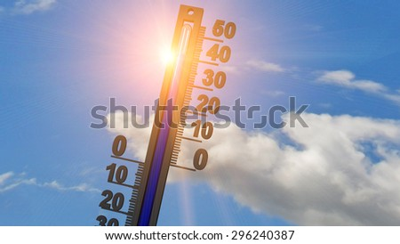 thermometer sun - 40 degrees - summer - stock photo