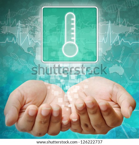 Thermometer Symbol on hand ,medical icon - stock photo