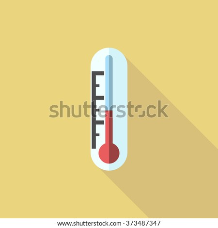Thermometer with red liquid on yellow. Flat style icon with long shadow. Temperature, climate, weather, forecast, chemistry, experiment concept - stock photo