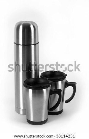 thermos and cups isolated on white - stock photo
