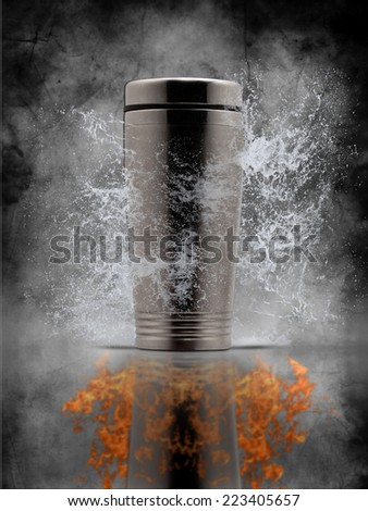 thermos, ice and fire. - stock photo