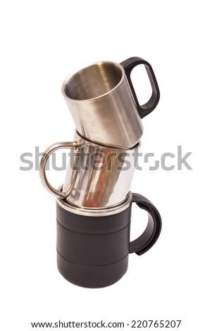 Thermos Travel Mugs on white background  - stock photo