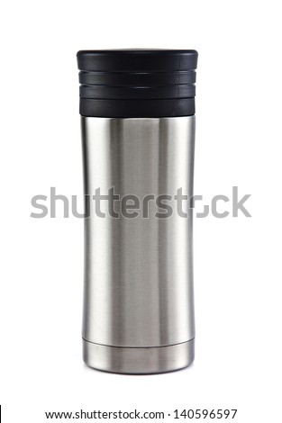 Thermos travel tumbler, cup. Closeup. on the white background - stock photo
