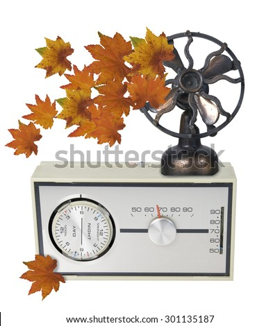 Thermostat Furnace dial with Autumn Leaves and Fan - path included - stock photo