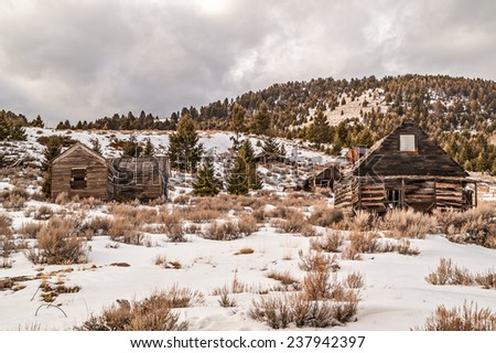 These buildings are reminders of a once busy mining town in Montana. - stock photo