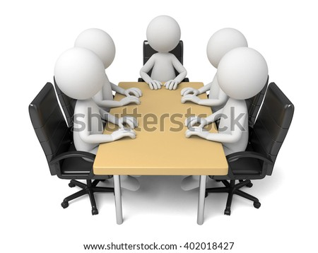 These 3d people are at a meeting - stock photo
