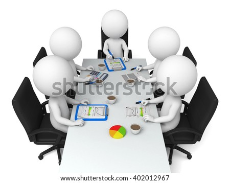 These 3d people are in a meeting - stock photo