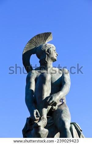 Theseus statue at Athens greece - stock photo