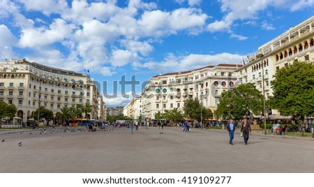 THESSALONIKI, GREECE - APRIL 25: Aristotelous Square on April 25, 2016 in Thessaloniki, Greece. Aristotelous Square is the main city square of Thessaloniki and is located on the city's waterfront. - stock photo