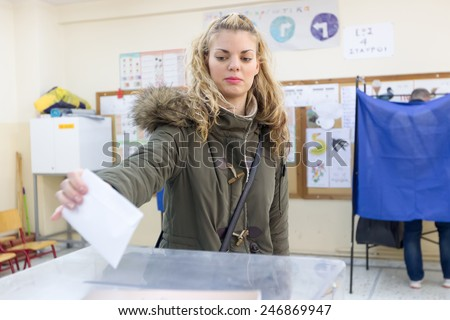 THESSALONIKI, GREECE, JANUARY 25, 2015: Highlights during Greek General Election 2015. Greeks are voting on Sunday to elect the 300 members of the parliament in accordance with the constitution. - stock photo