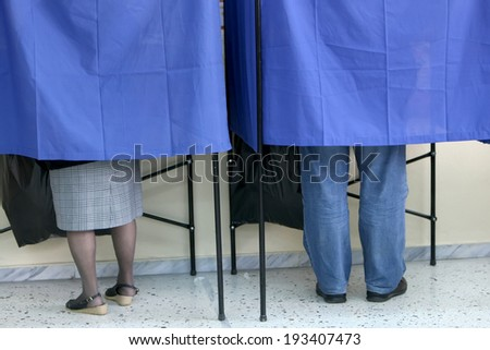 THESSALONIKI, GREECE, MAY 18, 2014: Highlights during the municipal and regional elections in Greece. 10 million Greeks are eligible to vote on Sunday to elect mayors and town councils. - stock photo