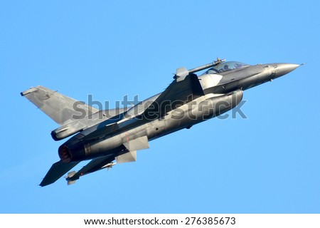 Thessaloniki, Greece - May 3:  Jet Fighter F-16 block 52 plus Demo Team Zeus on the airshow on May 3,2015 in Kavala, Greece. - stock photo