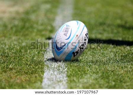 THESSALONIKI, GREECE- MAY 31, 2014: Shot of the match ball during the European Rugby Championship Thessaloniki 2014, Greece - stock photo