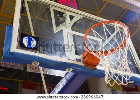 THESSALONIKI, GREECE - NOV 12, 2014: Basketball net as seen from low angle prior to the Eurocup game Paok vs Buducnost - stock photo