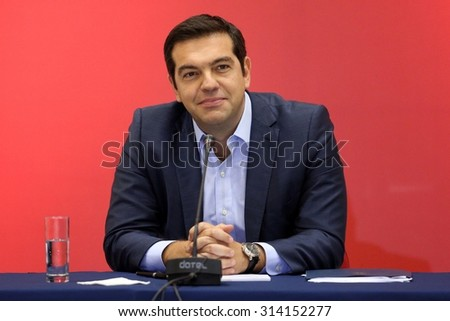 THESSALONIKI, GREECE - SEPT 7,2015:Syriza leader Alexis Tsipras press conference of 80th Thessaloniki International Fair in the northern port city of Thessaloniki on Sept 7,2015 in Thessaloniki,Greece - stock photo