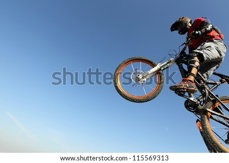 THESSALONIKI,GREECE - SEPT,30: Unidentified  bikers take part in Yedi Kule Runaway competition in Thessaloniki during Urban Downhill on September 30, 2012 in Thessaloniki, Greece. - stock photo
