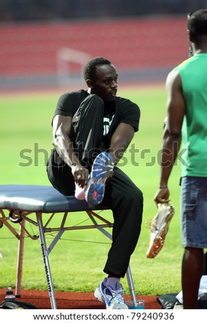 THESSALONIKI, GREECE -SEPTEMBER 11: Jamaican U. Bolt relaxing in the training center for the IAAF World Athletics Finals main event in Kaftatzoglio Stadium on September 11, 2009 in Thessaloniki,Greece - stock photo