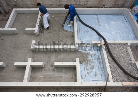 They injected the concrete for the creation of the foundation in a residential construction site. - stock photo