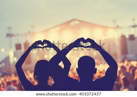 They love this band! - stock photo