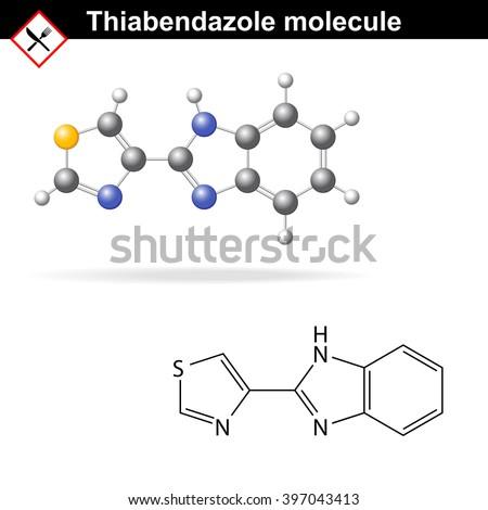 Thiabendazole molecule - antiparasitic and antifungal, food additive, Ð?233, raster - stock photo