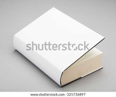 Thick Blank book with ajar white cover - stock photo
