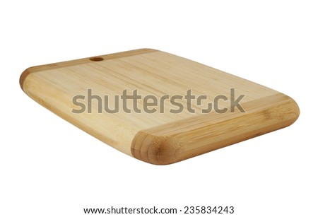 Thick brown cutting board isolated on white background - stock photo