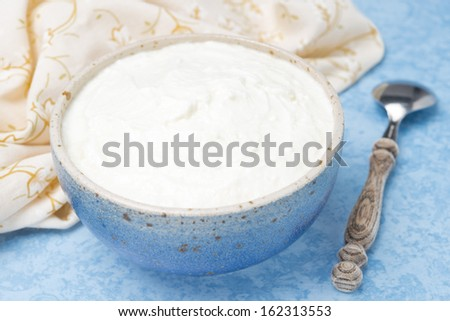 thick homemade natural yoghurt, close-up - stock photo