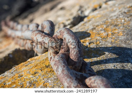 Thick rusty chain  - stock photo