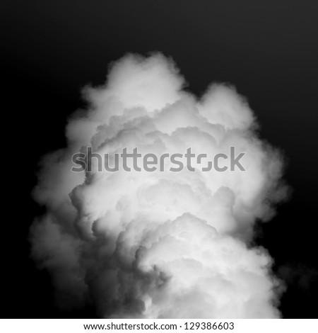 thick white smoke on black background - stock photo