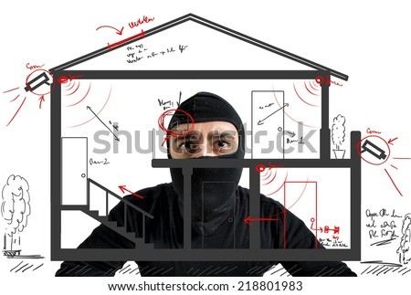 Thief apartment studying security system of a new house - stock photo