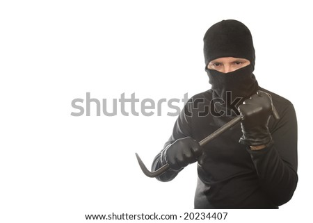 thief has control over crowbar on the isolated background - stock photo