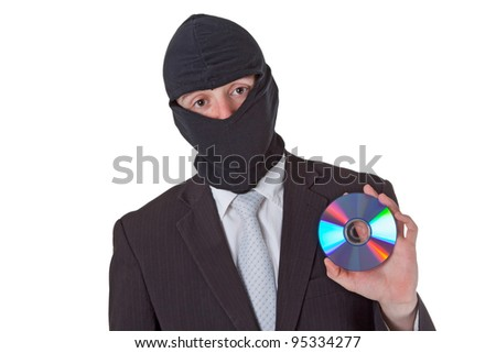 Thief holding a data disk isolated on white background - stock photo