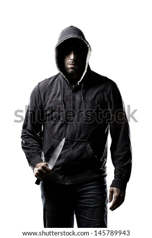 Thief in the hood on a white background. - stock photo