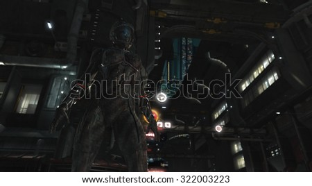 Thief rogue at night in urban future - stock photo