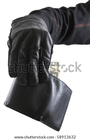 Thief's hand taking money from stolen wallet isolated on white background. - stock photo