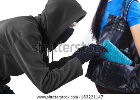 Thief stealing a wallet from handbag of a woman. isolated on white background - stock photo