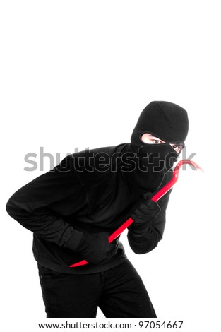 thief with lever on white background - stock photo