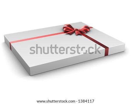 Thin box gift with satin bow - stock photo