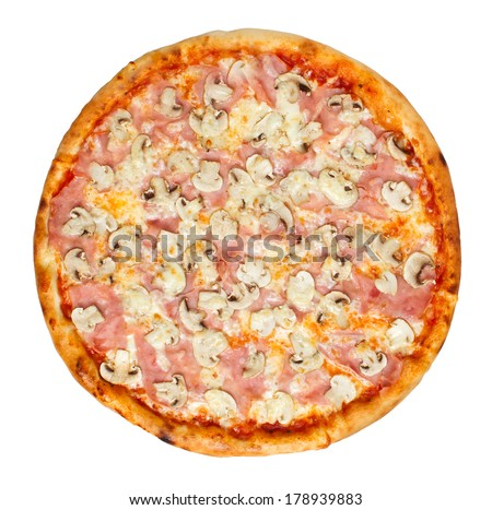 Thin crust Italian pizza with tomato sauce, cheese, ham and mushrooms. Overhead studio shot isolated on white background. See more pizzas and food stock - stock photo