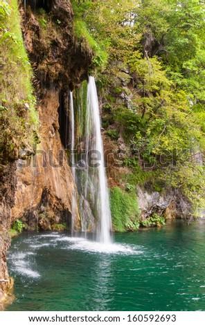 Thin waterfall in Plitvice Lakes National Park, Croatia - stock photo
