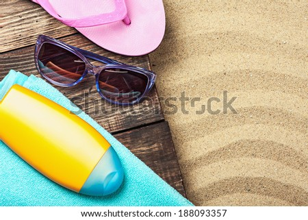 things for a beach holiday on the sea sand - stock photo