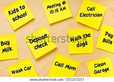 Things To Do Postits Memo for male tasks - stock photo