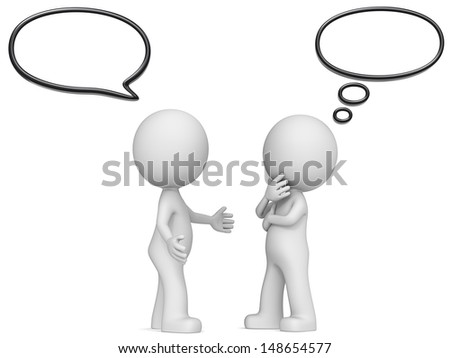 Think and Speech Bubbles. The Dude x 2 communicating. Think and Speech Bubbles. - stock photo