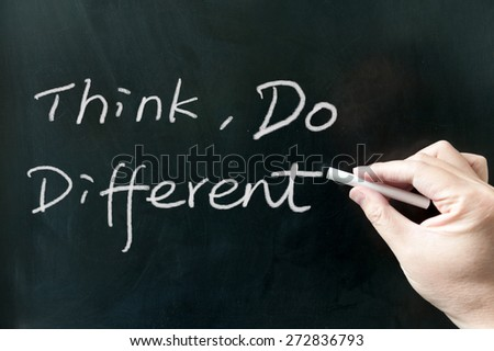 Think, do different words written on the blackboard using chalk - stock photo