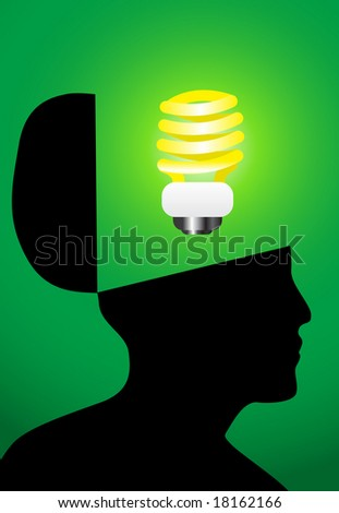 Think green concept. Environment friendly thinking. Jpeg raster version - stock photo