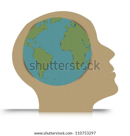 Think Green Concept Present By Head With Globe Inside Made From Recycle Paper Isolated on White Background - stock photo